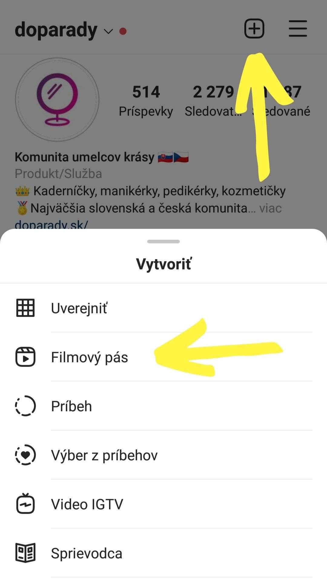 Obrázok kde hľadať možnosť pridania Instagram reels