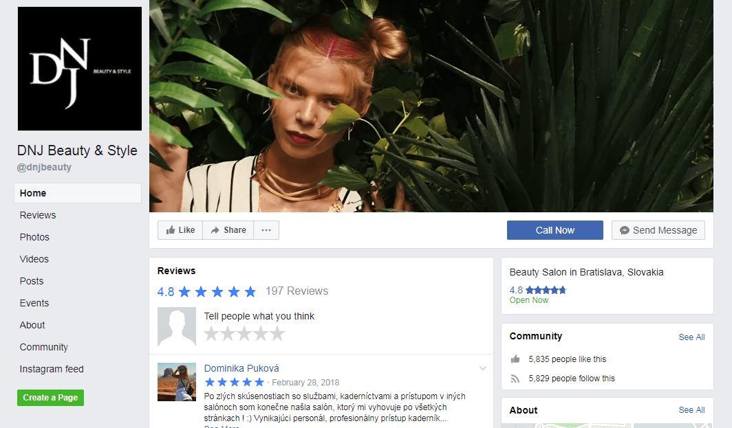 facebook profil kadernictva DNJ Beauty & Style