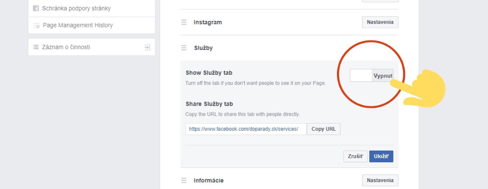 Zapnúť kartu služby na Facebooku