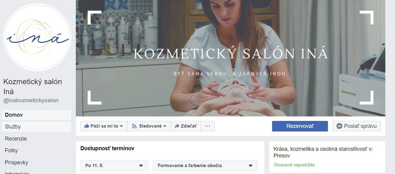 Kozmetický salón Iná stránka na Facebooku
