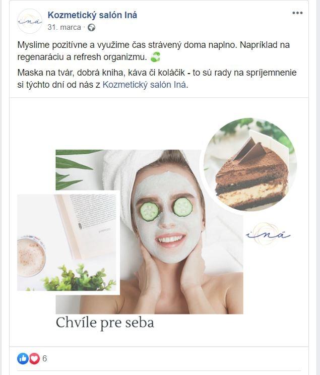 Kozmetický salón Iná príspevok na Facebooku