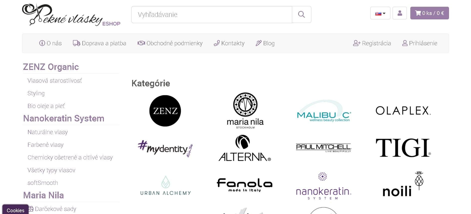 E-shop Pekné vlásky - homepage