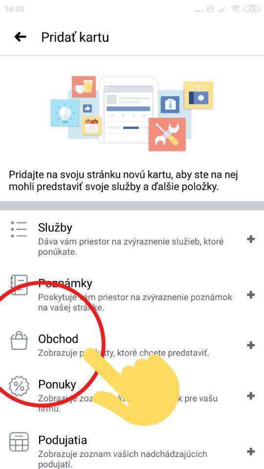 Pridať Facebook kartu obchod