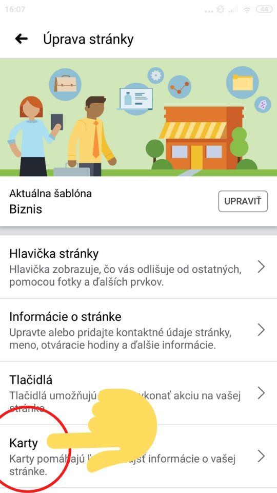 Úprava Facebook stránky