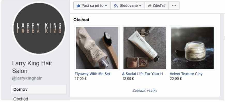 Facebook obchod Larry King hair salon