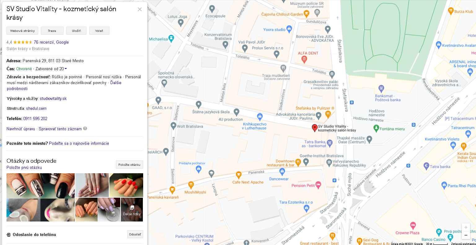 Salón v Google vyhľadávaní